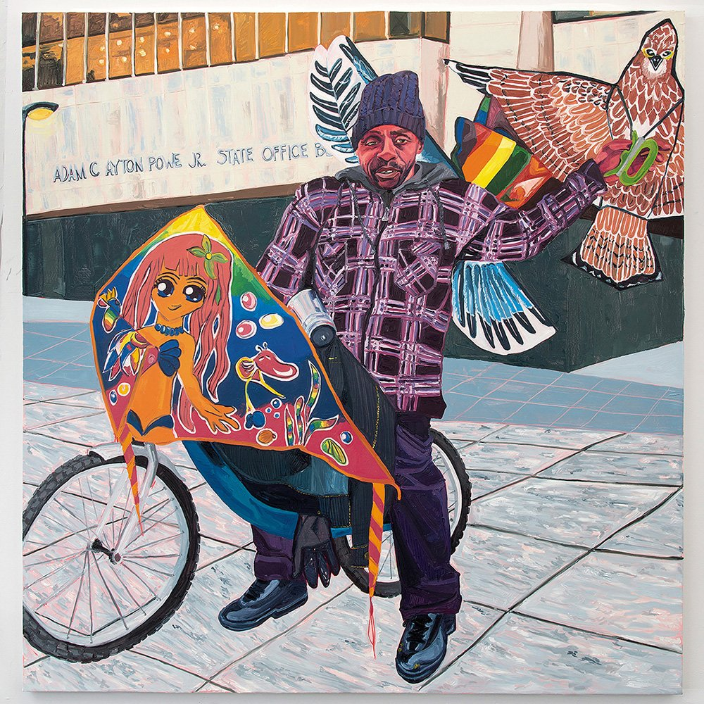 An illustrative painting of a black man in from of a municipal building he straddles a  bike, a kite with the a female anime character resembling an orange mermaid obscures the handle bars,  he holds two bird kites up behind his head