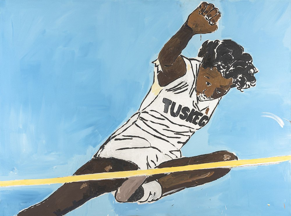 An oil painting with a solid light blue field at the center a black man in a white track uniform with TUSKEG on the chest hurdles over a yellow line symbolizing a track hurdle